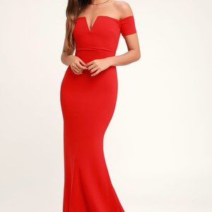 Lulu's Red Off-the-Shoulder Maxi Dress